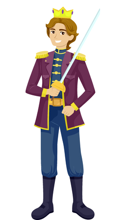 actor: Illustration of a Teenage Boy Wearing a Prince Costume Stock Photo