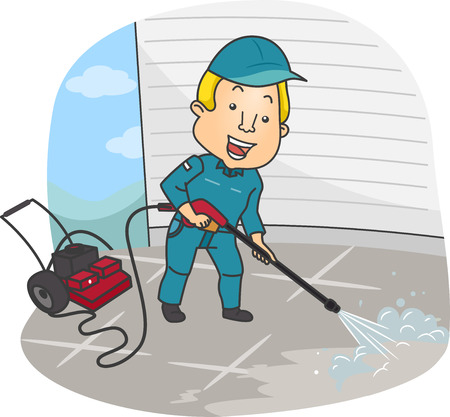 Illustration of a Man Cleaning the Floor Using a Pressure Washer