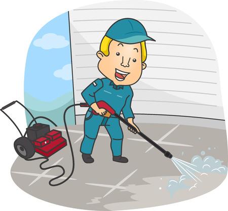 Ilustração de um homem limpando o chão usando uma lavadora de alta pressão