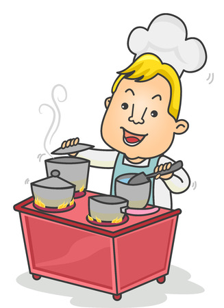 juggle: Illustration of a Chef Cooking Four Dishes Simultaneously