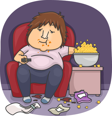 slob: Illustration of an Overweight Man Eating Popcorn Stock Photo