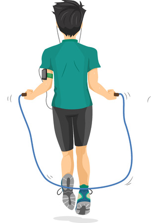 saltar la cuerda: Ilustración de un niño adolescente que usa una cuerda para saltar