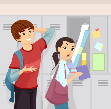 timid: Illustration of a Shy Teenage Boy Asking a Girl Out