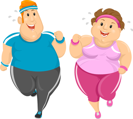 weight loss: Illustration of an Overweight Couple Working Out Together