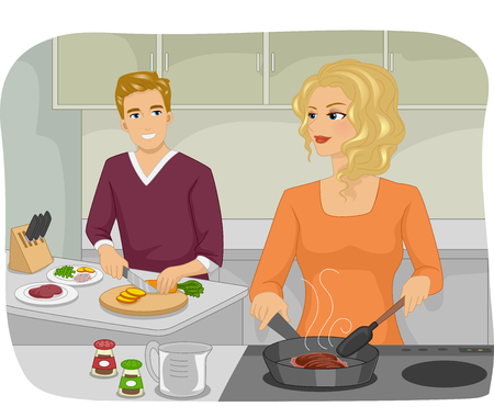 dinner date: Illustration of a Couple Preparing a Meal Together