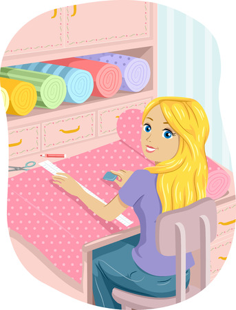 teenage girl: Illustration of a Teenage Girl Cutting Strips of Cloth