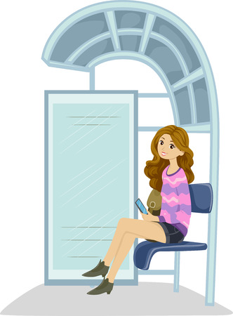 teenage girl: Illustration of a Teenage Girl Waiting at the Bus Stop