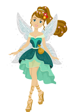 teenage: Illustration of a Teenage Girl Dressed as a Cute Fairy Stock Photo