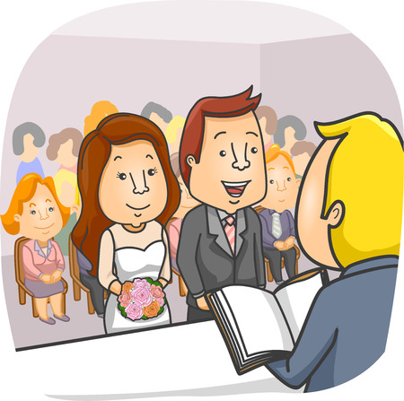 mayor: Illustration of a Couple Having a Civil Wedding Stock Photo