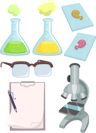 erlenmeyer: Illustration Featuring Different Science Lab Tools Stock Photo
