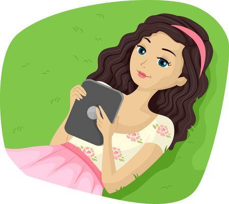 teenage girl: Illustration of a Teenage Girl Reading Ebooks on Her Tablet Stock Photo