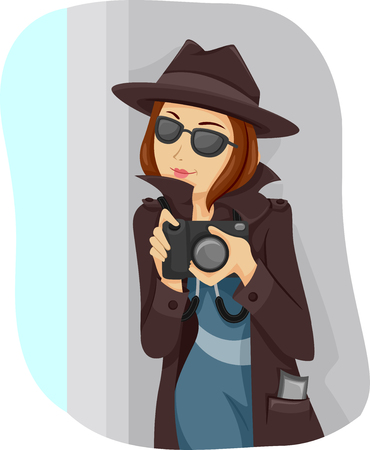 Illustration of a Teenage Girl Dressed Like a Private Detective