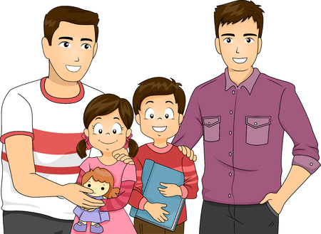 sex man: Illustration of a Same Sex Couple with Their Children Stock Photo