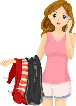 Illustration of a Teenage Girl Talking on the Phone While Choosing What to Wear