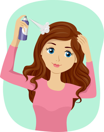 Illustration of a Teenage Girl Spraying Dry Shampoo Stock Photo