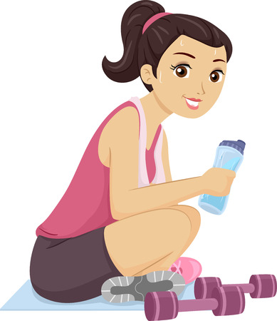 adolescence: Illustration of a Teenage Girl Sweating After a Workout Stock Photo