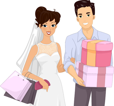 nuptial: Illustration of a Married Couple Carrying Wedding Gifts