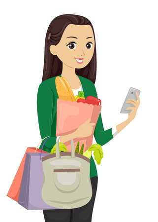 teenage: Illustration of a Teenage Girl Using a Shopping App While Buying Groceries