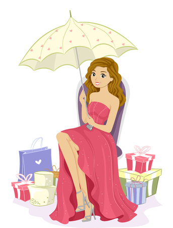 sweet sixteen: Illustration of a Pretty Debutante Surrounded by Gifts