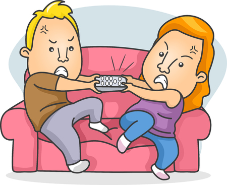 remote control: Illustration of a Married Couple Fighting Over the Remote Control