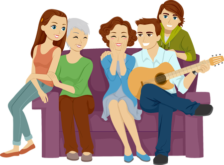 serenading: Illustration of a Husband Serenading His Wife in Front of the Whole Family