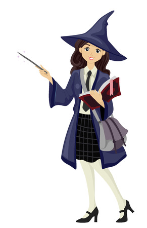 teenage girl: Illustration of a Teenage Girl Dressed as a Wizardry Teacher
