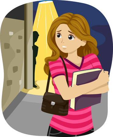 stalking: Illustration of a Teenage Girl Being Followed by a Mysterious Stalker