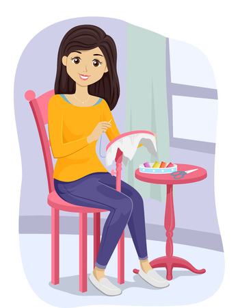 teenage girl: Illustration of a Teenage Girl Working on an Embroidery Project