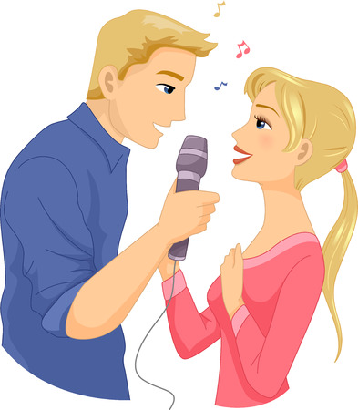 duet: Illustration of a Couple Singing Together