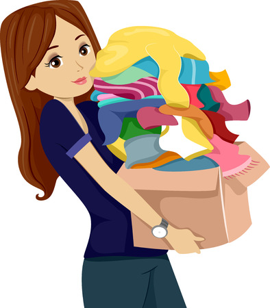 Illustration of a Teenage Girl Carrying a Donation Box Full of Clothes Banco de Imagens