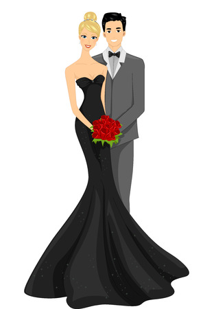 striking: Illustration of a Newly Married Couple Striking a Pose Stock Photo