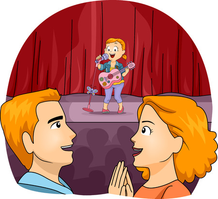 perform: Illustration of Proud Parents Watching Their Daughter Perform on Stage Stock Photo