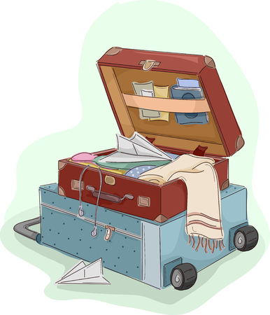 bagagli: Illustrazione di una valigia aperta seduto sulla cima di un Deposito
