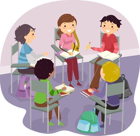 study group: Stickman Illustration of Teens Studying Together