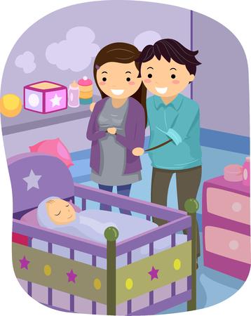 그들의 아기 수면을보고 결혼 한 커플의 그림