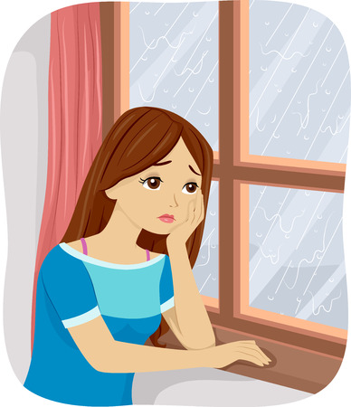 winter blues: Illustration of a Teenage Girl Suffering from Seasonal Affective Disorder Stock Photo