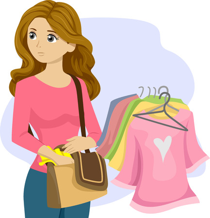 misdemeanor: Illustration of a Kleptomaniac Teenage Girl Stealing Clothes