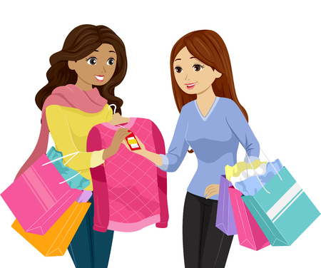 discounted: Illustration of a Teenage Girl Buying a Discounted Sweater Stock Photo