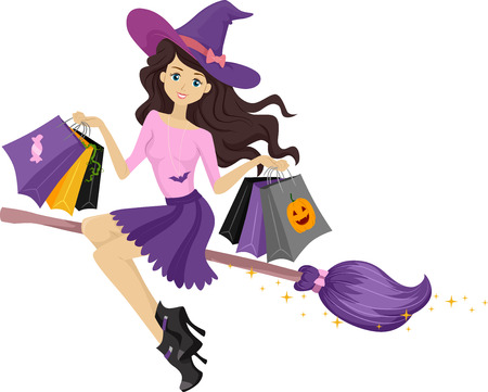 broomstick: Illustration of a Teenage Witch on a Broomstick Carrying Shopping Bags