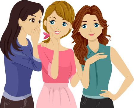 Illustration of Teenage Girls Gossiping