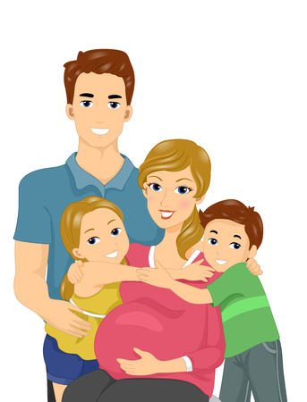 pregnancy woman: Illustration of a Happy Family Expecting Another Child