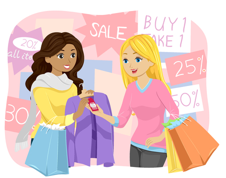 discounted: Illustration of a Teenage Girl Buying a Discounted Shirt