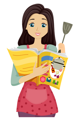 reading magazine: Illustration of a Teenage Girl Reading a Recipe from a Magazine