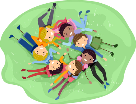 diverse group: Stickman Illustration of a Diverse Group of Teens Lying on the Grass Stock Photo