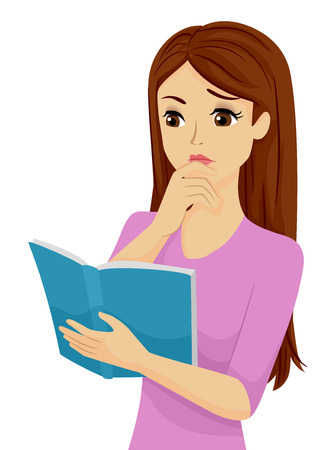 teenage: Illustration of a Confused Teenage Girl Reading a Book