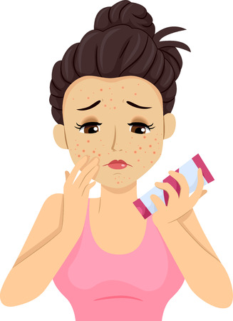 skincare facial: Illustration of a Teenage Girl