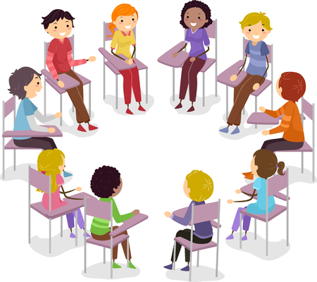 tertiary: Stickman Illustration of Teens Having an Open Forum