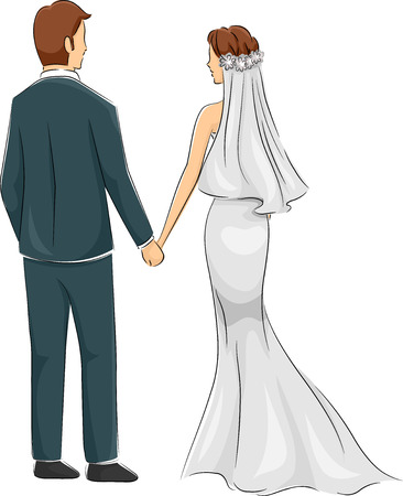 wedding dress back: Back View Illustration of a Newly Married Couple