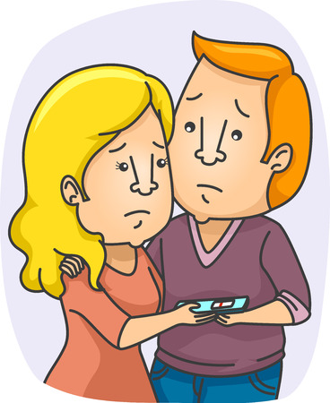 disappointment: Illustration of a Couple Disappointed Over a Negative Pregnancy Test Result Stock Photo