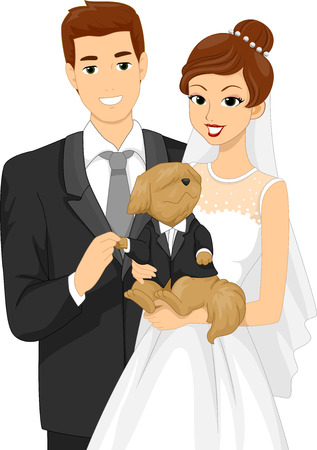a newly married couple: Illustration of a Newly Married Couple Taking a Picture with Their Dog Stock Photo